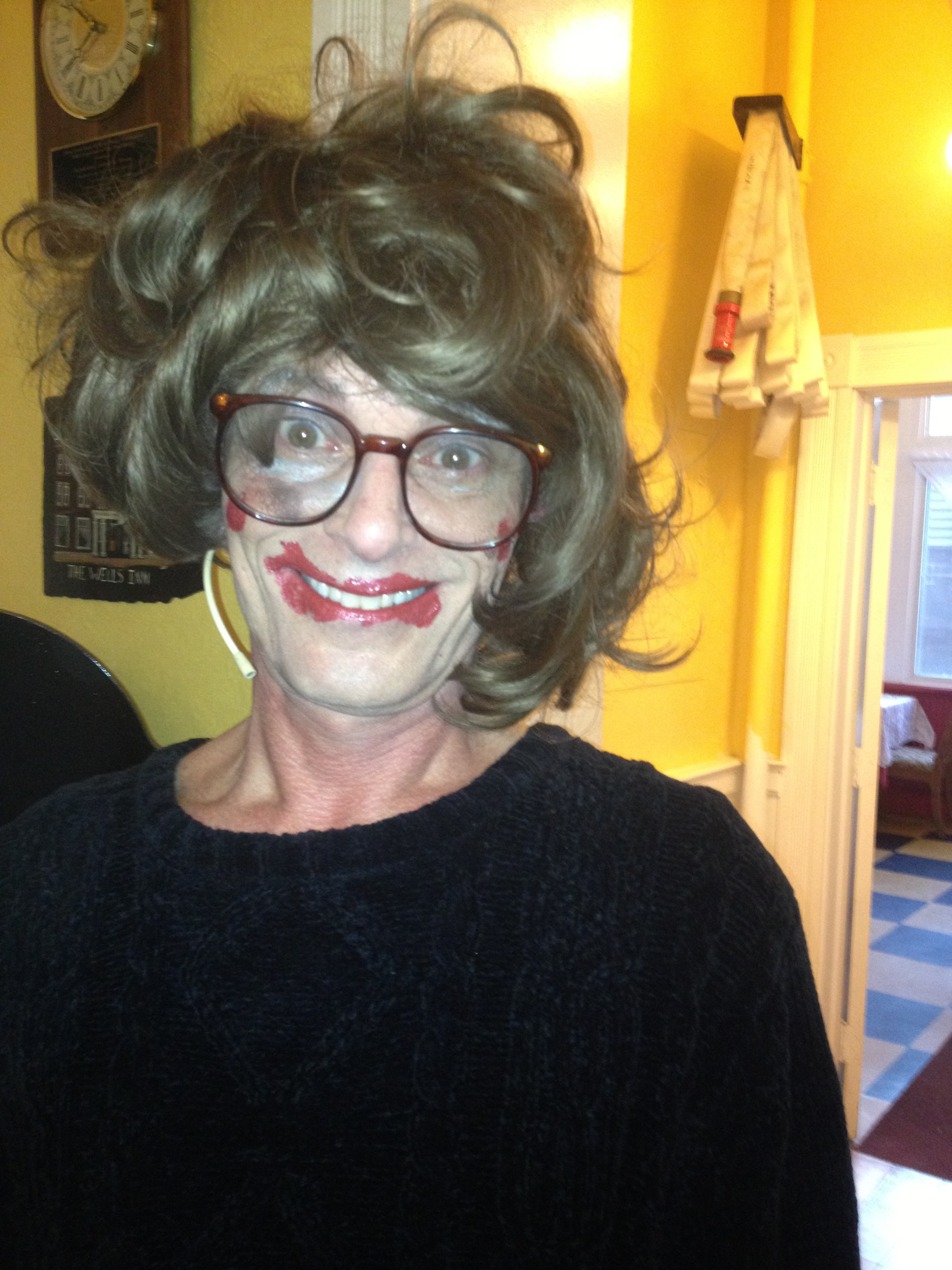 Butch Maxwell as Olive Boyle after Tank and Coach do her make-up